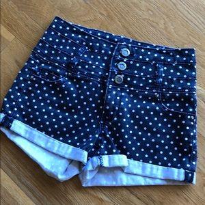 Black and White Denim Shorts